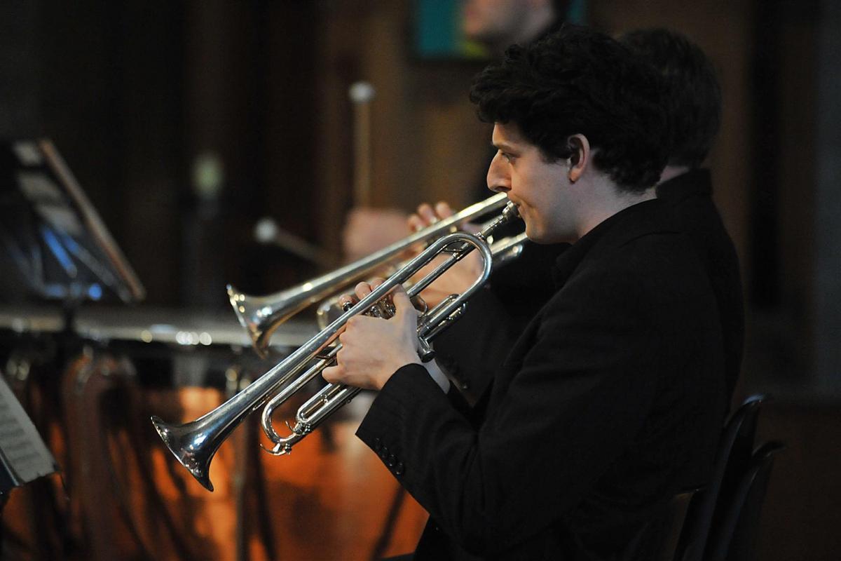 Andrew McLean, trumpet performing at St John's Kirk Perth, September 2013