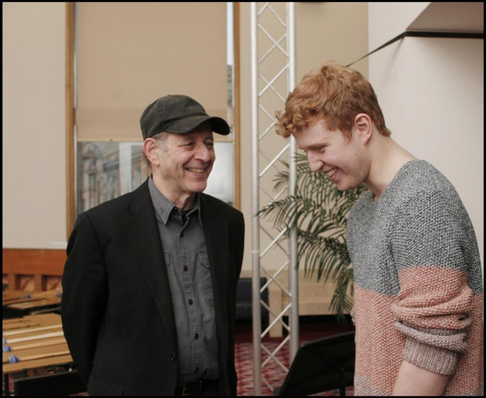 Donald Robinson meeting Steve Reich at Glasgow Royal Concert Hall 2013