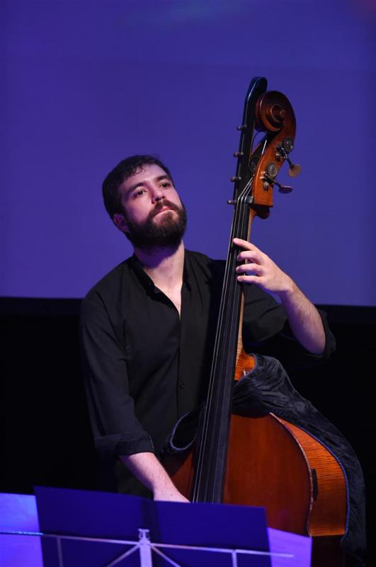 Andy Robb on bass for The Same River Twice at The Tollbooth, August 2014