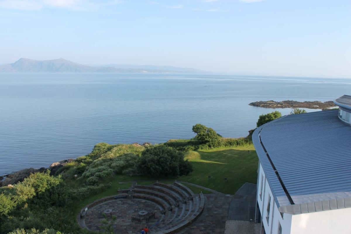 View over the amphitheatre at Sabhal Mor Ostaig on Skye