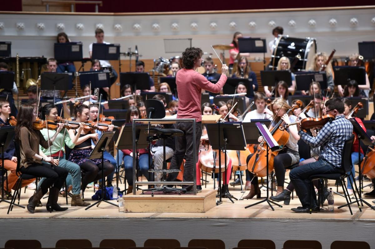 Rehearsals with conductor Nicholas Collon at Glasgow City Halls, April 2015