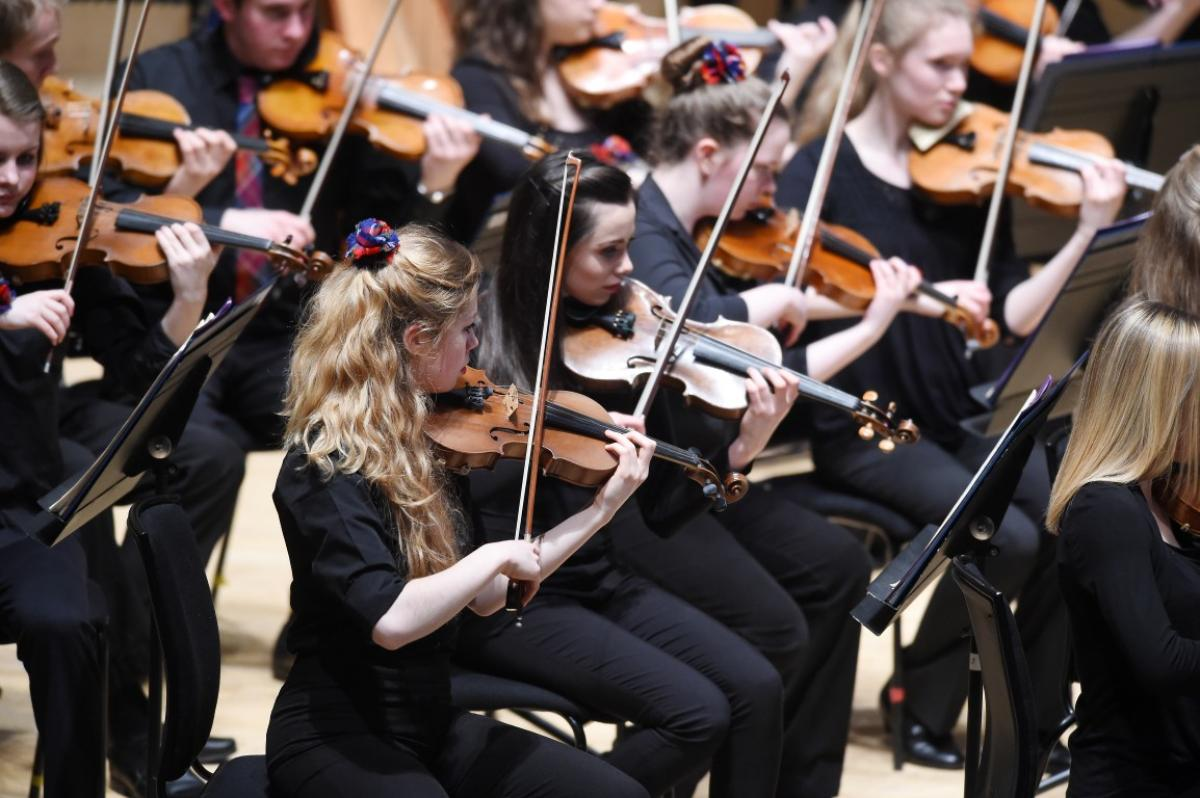 NYOS Symphony Orchestra performance complete with tartan corsages at Glasgow City Halls, April 2015