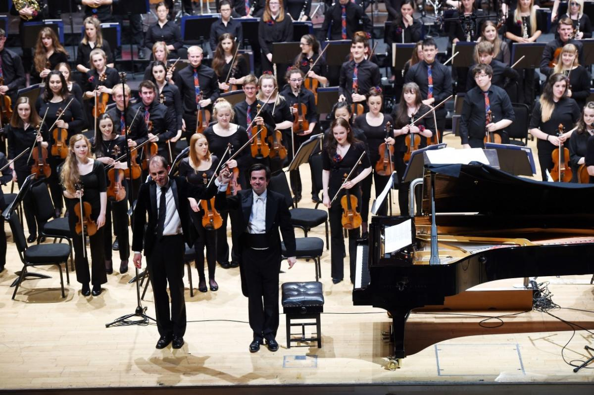 Conductor Rory Macdonald and soloist Danny Driver take their bow at Perth Concert Hall, July 2015
