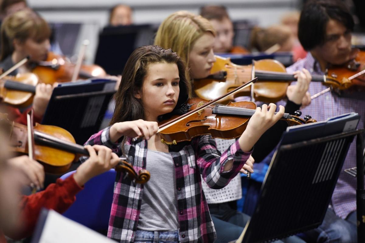 NYOS Junior Orchestra rehearsing at Strathallan School in July 2015