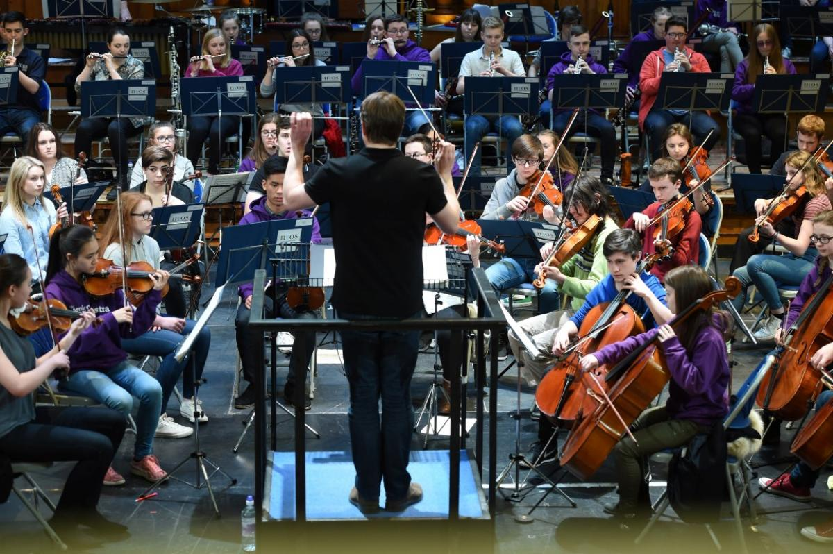 NYOS Senior Orchestra with conductor James Lowe during final rehearsals at Ayr Town Hall, 15/4/16
