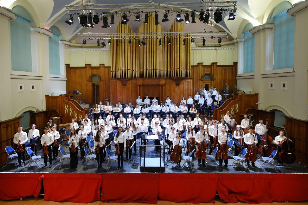 NYOS Senior Orchestra group shot at the stunning Ayr Town Hall, 15/4/16