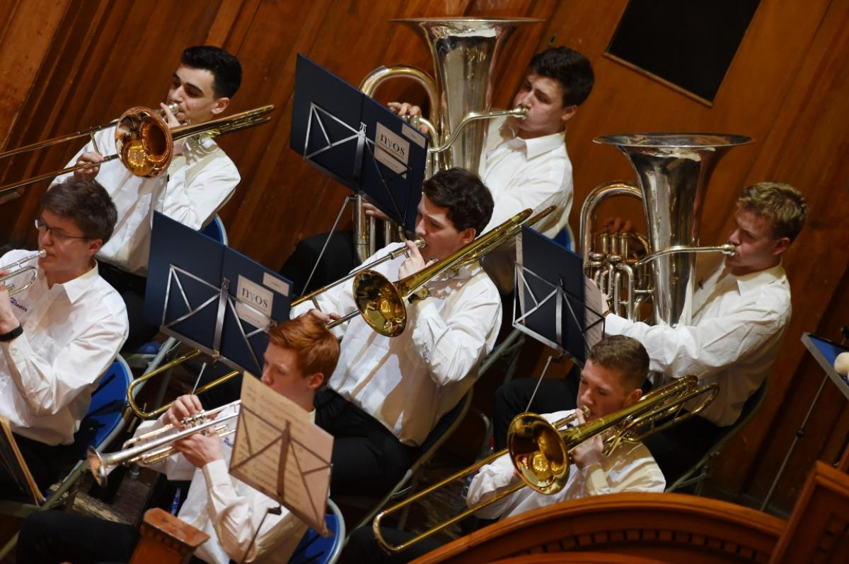 NYOS Senior Orchestra, brass section at Ayr Town Hall, 15/4/16