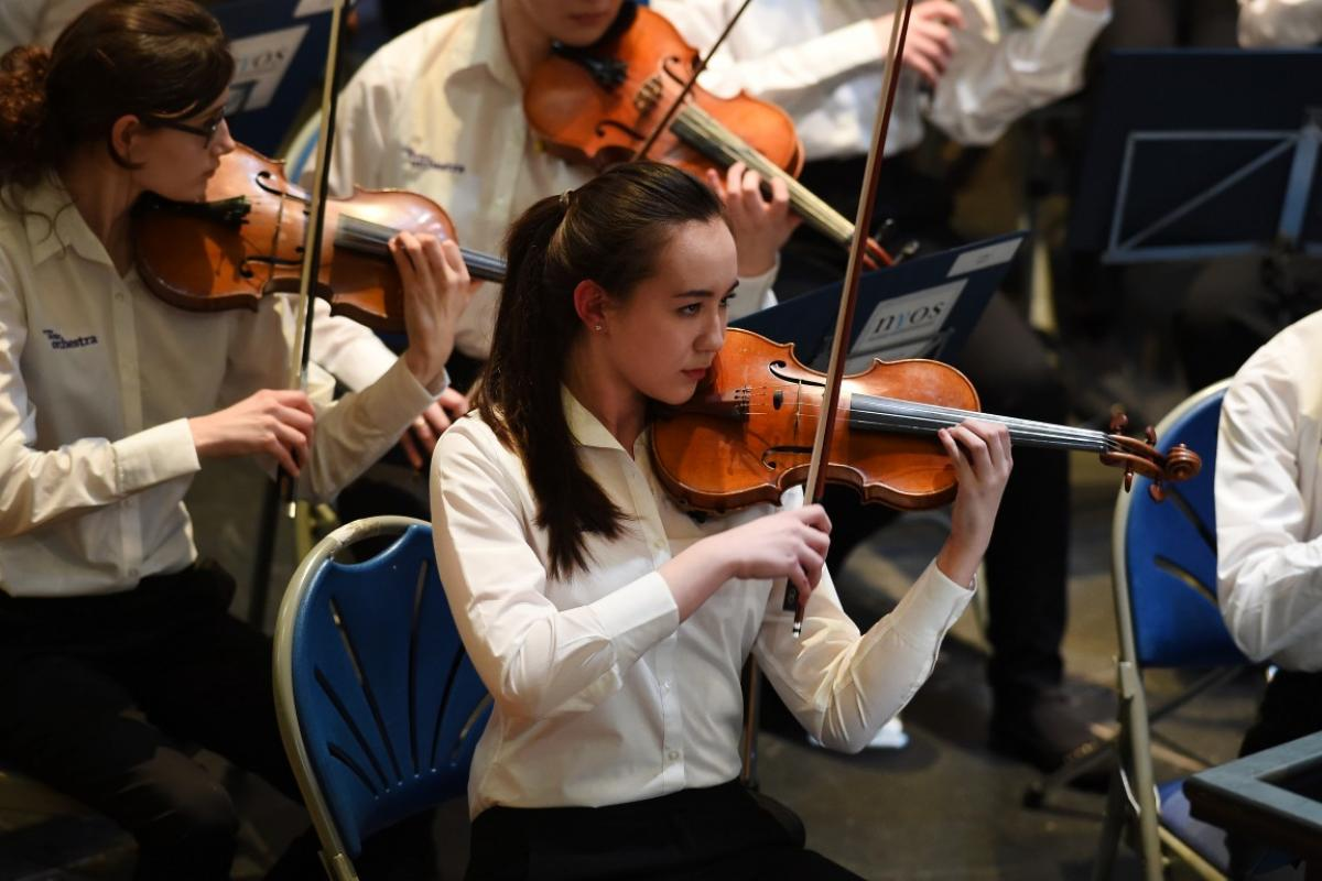 Leader of NYOS Senior Orchestra, Sophie Williams at Ayr Town Hall, 15/4/16