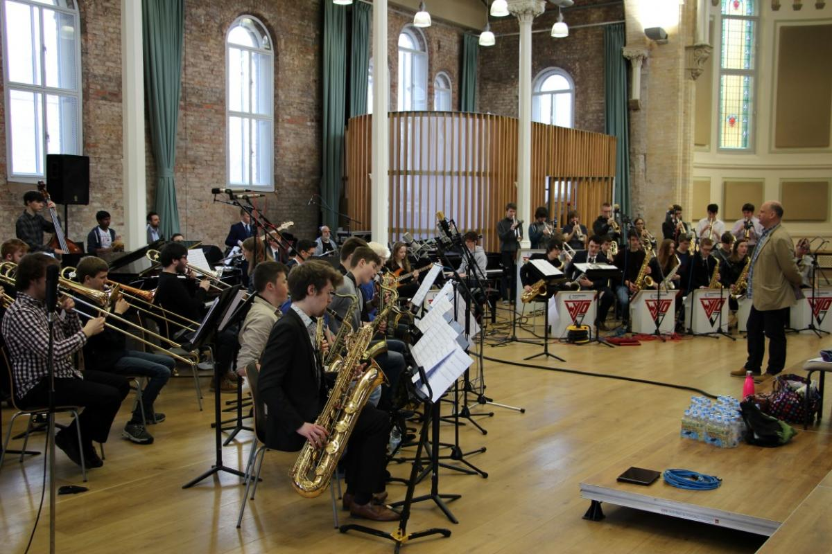 NYOS Jazz Orchestra & Wigan Youth Jazz Orchestra rehearsing ahead of the Double Big Band performance at Hallé St Peter's, Manchester