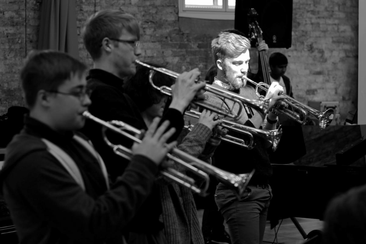NYOS Jazz Orchestra trumpets rehearsing ahead of the Double Big Band performance at Hallé St Peter's, Manchester