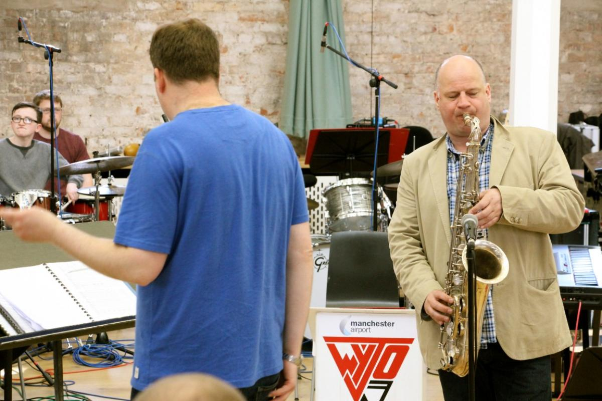 NYOS Jazz Orchestra with Iain Dixon rehearsing ahead of the Double Big Band performance at Hallé St Peter's, Manchester