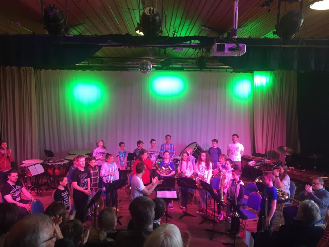 Brass and percussion training at Kilgraston School, 2016