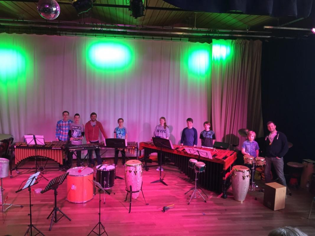 Percussion training at Kilgraston School, 2016