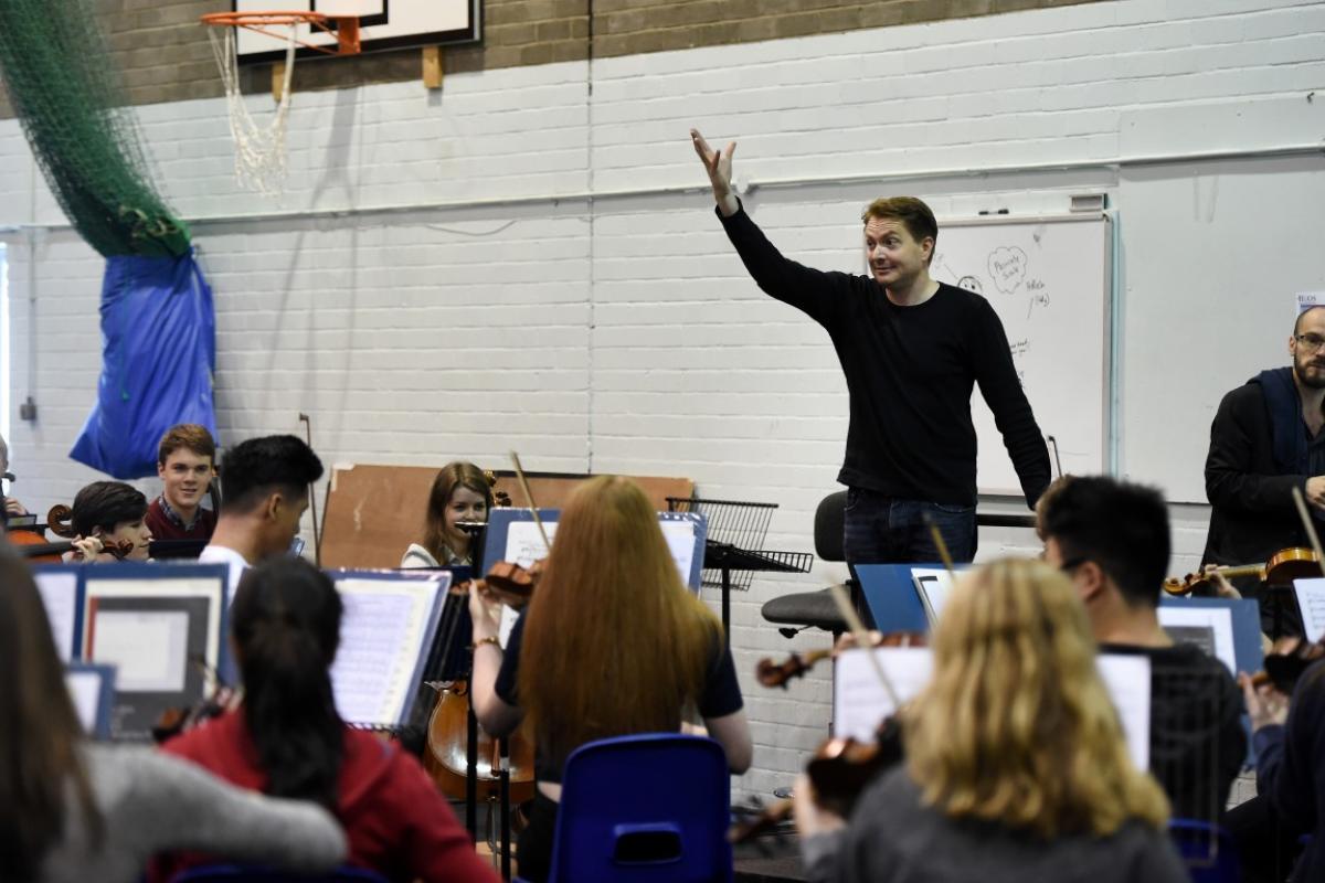 James Lowe with NYOS Senior Orchestra rehearsing at Strathallan 2016