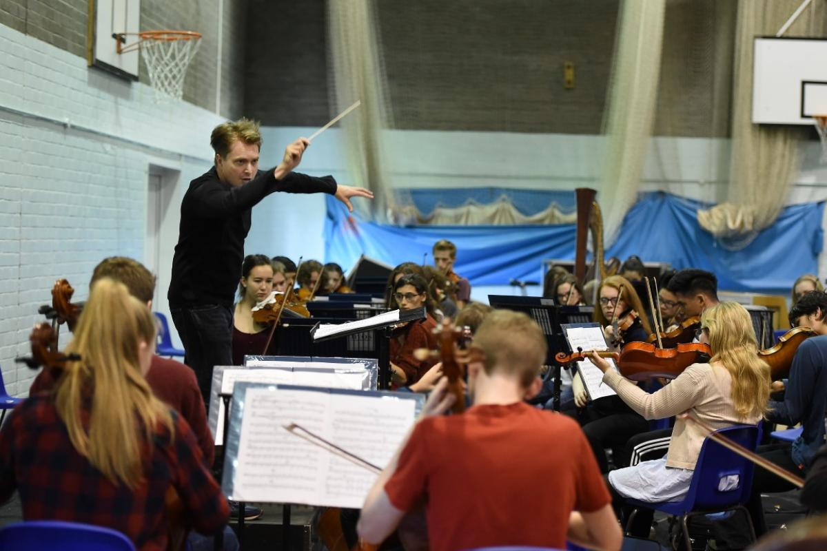 James Lowe with NYOS Senior Orchestra rehearsing at Strathallan 2016