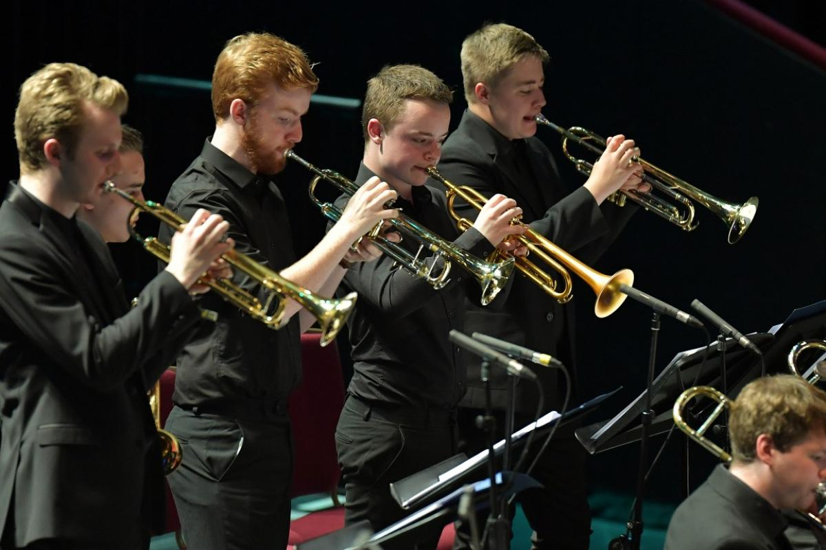 Horn section of NYOS Jazz Orchestra at the Royal Albert Hall