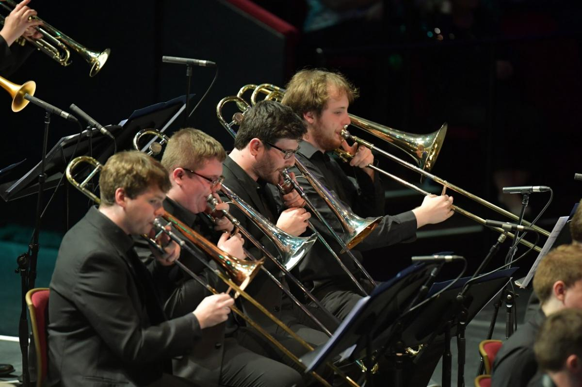 Trombone section of NYOS Jazz Orchestra at the Royal Albert Hall