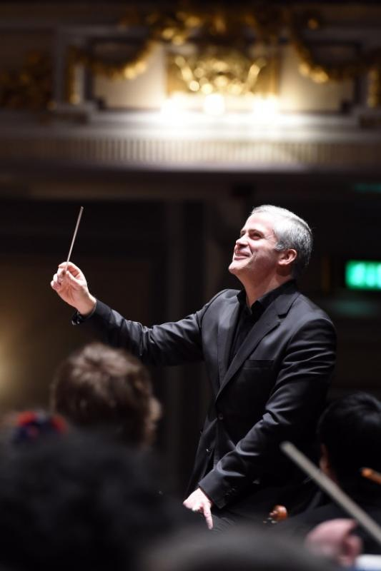 Conductor Tecwyn Evans showing his delight at the Usher Hall, April 2017