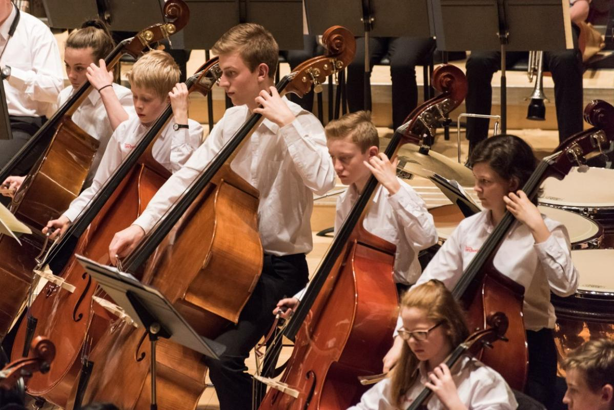 Full concentration from the double basses at Stevenson Hall, Royal Conservatoire of Scotland, April 2017
